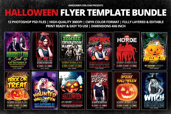 halloween flyer template bundle flyers