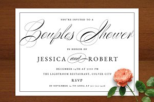 Elegant Script Couples Shower Invite