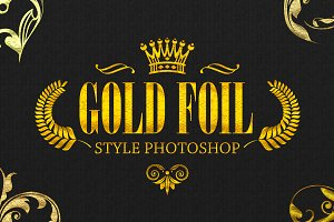 36 Gold Foil Style Photoshop V02