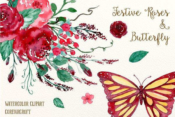 Watercolor Festive Roses & Butterfl…