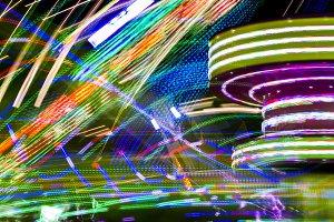Light traces on a fairground
