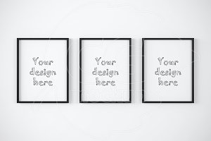"Set of 3 black frames 11x14"" mockup"