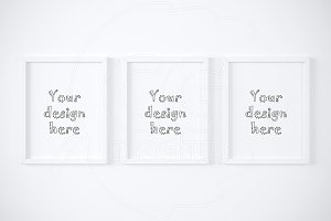 Set of three white frames mockup