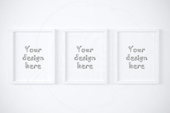 Set of three white frames mockup ~ Product Mockups ~ Creative Market