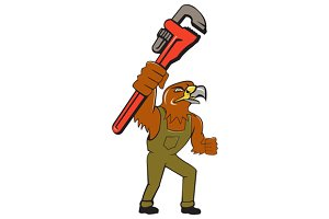 Hawk Mechanic Pipe Wrench Cartoon