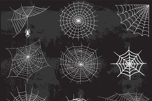 Spider web silhouette vector