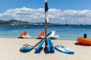 Beach with catamarans