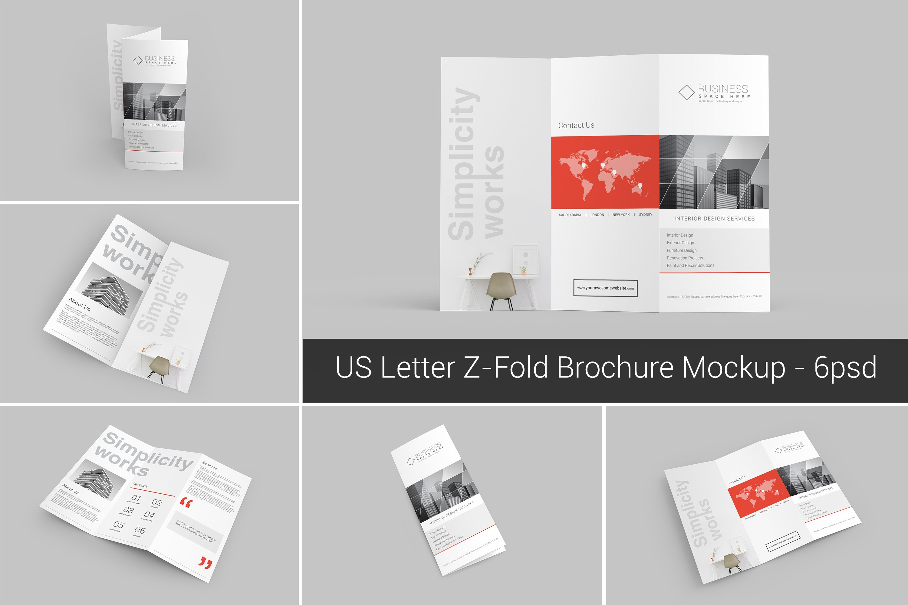Us letter z fold brochure mockups product mockups on for Z fold brochure template