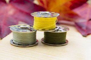 sewing threads in autumn