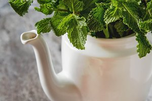 Sprig of mint in the garden vintage teapot. Stone background
