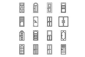 Door icons set, outline style