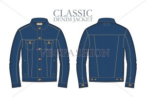 Men Classic Denim Jacket Template