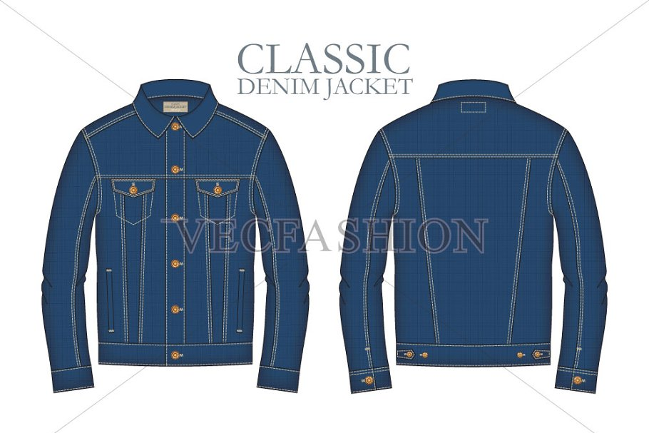 2c986de289 Men Classic Denim Jacket Template ~ Illustrations ~ Creative Market