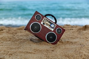 Radio recorder on the sand