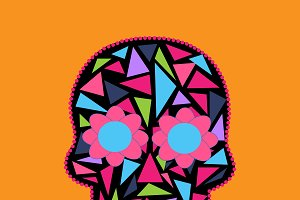 Skull vector triangle orange