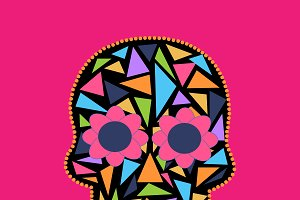 Skull vector triangle pink color