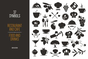 Big set of 37 Food and Drink symbols