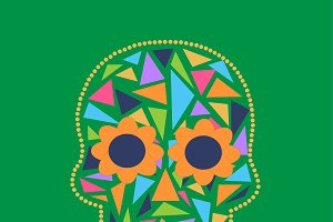 Skull vector triangle green color