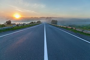 The road and sunrise