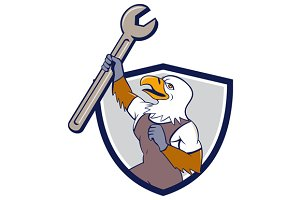 Mechanic Bald Eagle Spanner Crest
