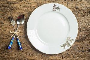 Vintage cutlery and dish menu