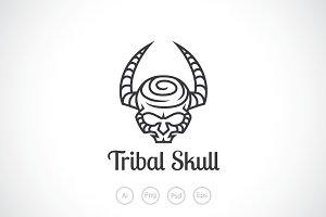 Tribal Skull Logo Template