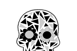 Skull vector triangle white