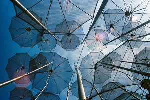 Iron umbrellas installation