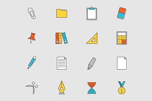 Education flat line icons vol 2