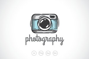 Camera Sketch Logo Template