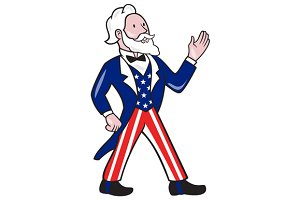 American Uncle Sam Waving Hand