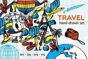 Hand drawn Travel set