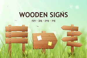 Wooden Signs realistic set