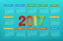 Colorful calendar template 2017.