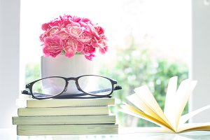 Pink carnation flower with books