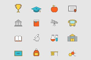Education flat line icons vol 3