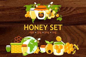 Honey flat vector set