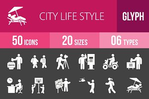 50 City Life Glyph Inverted Icons
