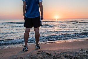 Fitness on the Beach at Sunrise