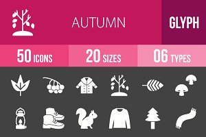 50 Autumn Glyph Inverted Icons