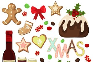 Traditional christmas food vector se