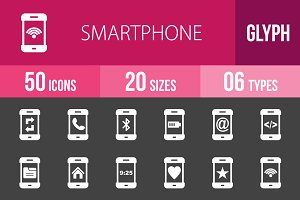 50 Smartphone Glyph Inverted Icons