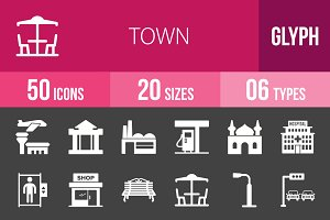 50 Town Glyph Inverted Icons