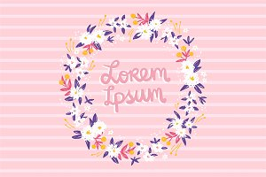 Foral pattern and wreath