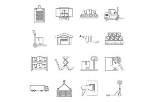 Logistic icons set, outline style