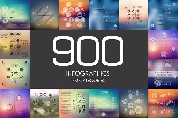 900 infographics. Library