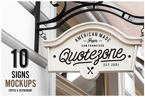 10 Signs Mockup Restaurant & Coffee