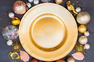 Christmas golden plate