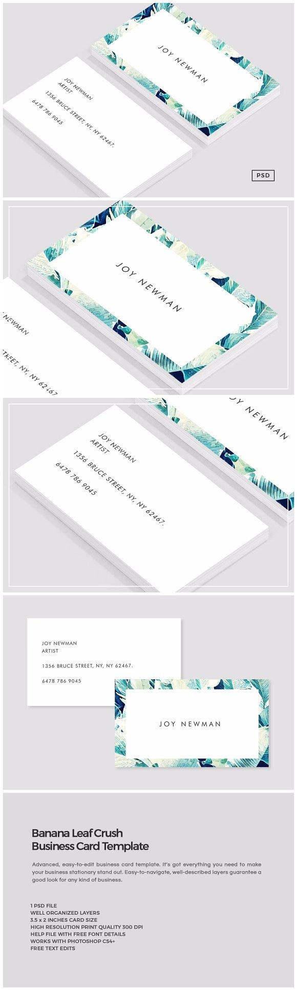 Banana Leaf Crush Business Card ~ Business Card Templates ...