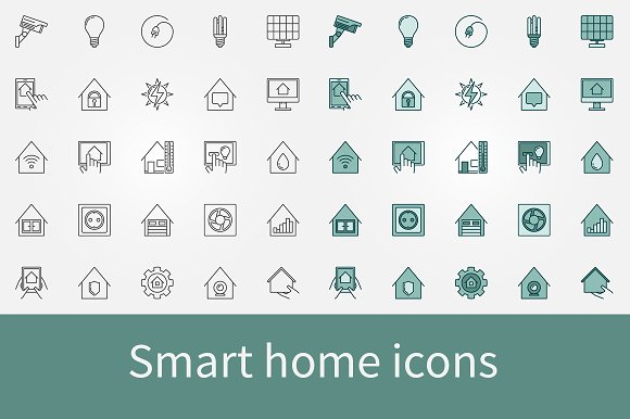 smart home icons set icons on creative market. Black Bedroom Furniture Sets. Home Design Ideas